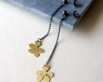 Oxidized Sterling silver and brass flower long dangle earrings