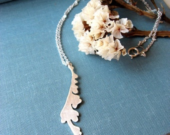 Pendant necklace leaf necklace in sterling silver, feather pendant