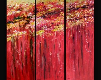 ABSTRACT in COLOR - Original Contemporary Triptych Acrylic Paintings