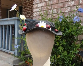 Mary Poppins COSTUME Hat Custom Black Boater Straw Hat Daisy Dasies Cherries Cherry Nanny