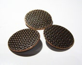 Antiqued Copper Buttons - Lattice Pattern - Set of Three - Antique Medieval Rustic Copper