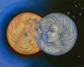 Romantic Sun and Moon love God Goddess spiritual art astrology PRINT