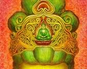 Buddha Art Poster Goddess Kwan Yin meditation spiritual Buddhist Zen Buddhism print of painting by Sue Halstenberg