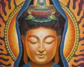 Goddess KUAN YIN Meditation Art Buddha Zen Buddhism spiritual print of painting by Sue Halstenberg