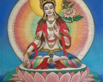 White Tara spiritual Buddha art, Tibetan Goddess print of painting by Sue Halstenberg