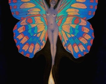 Fairy art naked nude butterfly woman fantasy wicca pagan matted print of painting by Sue Halstenberg