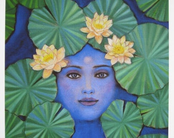 Spiritual art meditation lotus Krishna Hindu blue Buddha print of painting by Sue Halstenberg