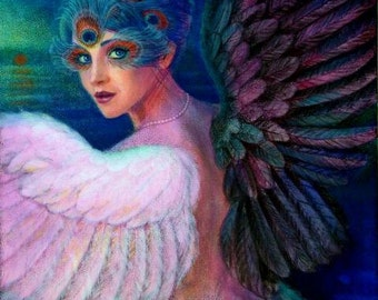 Surreal fantasy Art woman bird dark angel wing peacock feather eyes fantasy poster print of painting by Sue Halstenberg