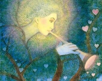 Angel Love Archangel Gabriel spiritual art Hearts Music green Tree artwork matted print of painting