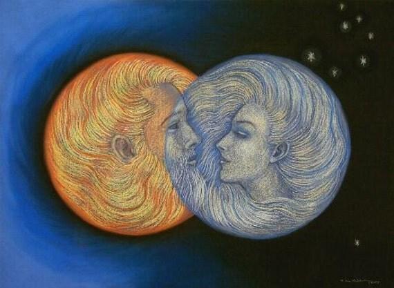 Romantic Sun and Moon love God Goddess spiritual art astrology PRINT