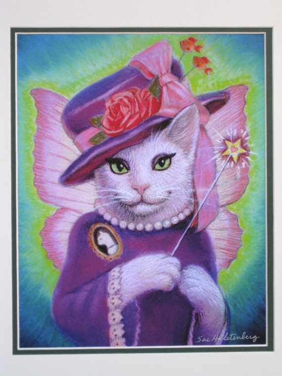 Cat Fairy Godmother art whimsical fantasy artwork matted print of cats painting by Sue Halstenberg