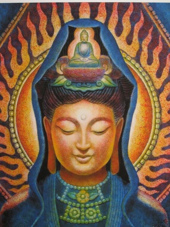 Buddhist Goddess KUAN YIN Meditation Art by HalstenbergStudio