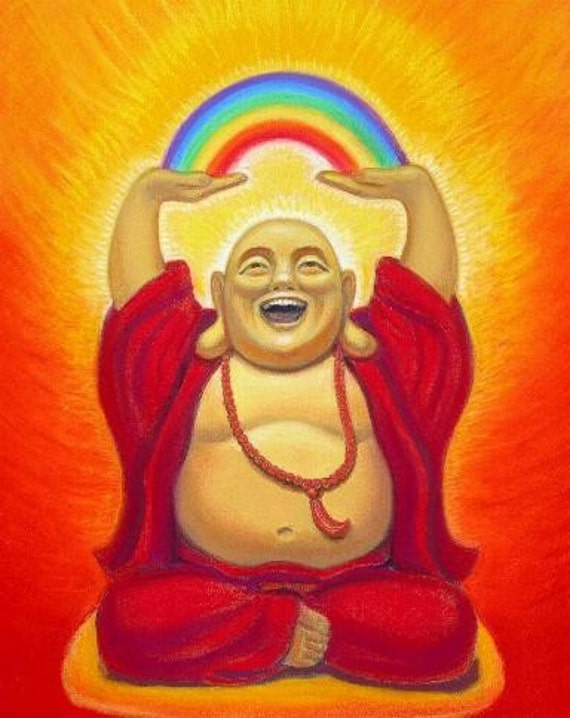 LAUGHING BUDDHA ART spiritual Zen Buddhist Whimsical rainbow