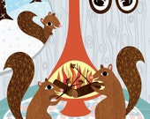 Squirrels Roasting Acorns - Childrens Room Decor - Archival Art Print Poster - Nursery Decor - Winter Squirrel