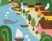 New England Town by the Sea Print- New England Print- Home Decor- Kids room Decor- Nursery Decor- baby shower gift
