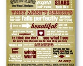 Just the Way You Are / Bruno Mars / Lyric / DIGITAL Typography Poster / Printable