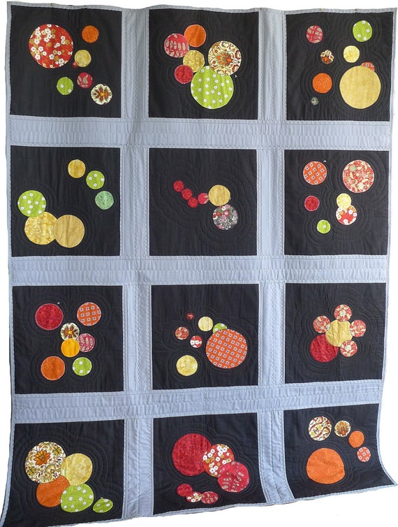 BLACK and GREY QUILT with Red, Orange, Yellow & Green Bubbles