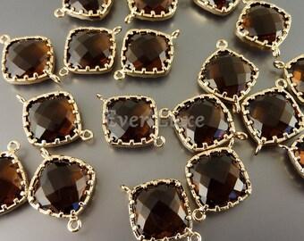 2 smoky quartz 13mm diamond shape glass links with frame, jewellery supplies 5022G-SQ-13 (bright gold, smoky quartz, 13mm, 2 pieces)