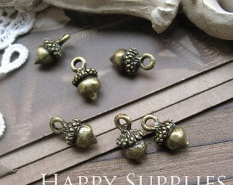 Last - 50 Pieces Nickel Free - High Quality Antiqued Vintage Bronze /Silver Acorn Charms / Pendant (ZG120/ZG139)--Clearance Sale