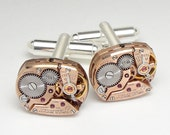 Genuine Omega Watch Cufflinks in Rose Gold ideal Wedding or Anniversary Gift Grooms Formal Wear Silver Mens Cuff Links Steampunk Jewelry