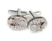 Steampunk Cufflinks, Watch Cuff Links, Vintage Elgin Watch Movements Wedding Anniversary Gift, Grooms Silver Cuff Links, Mens Jewelry 2907