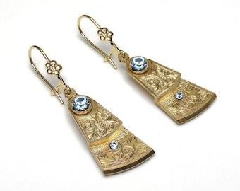 Steampunk Earrings vintage pocket watch movement balance gear plates gold leaf flower aquamarine blue crystal drop dangle earrings