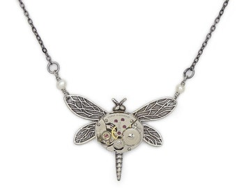 Steampunk Necklace Art Nouveau Silver Dragonfly Pendant with a Vintage Watch Movement and Genuine Pearl Beaded Statement Jewelry Gift
