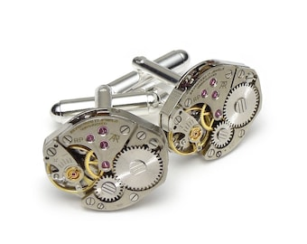 Steampunk Cufflinks Steampunk Jewelry watch movements wedding anniversary Grooms Gift formal wear vintage silver cuff links men jewelry 2735