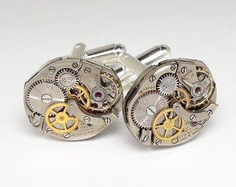 Steampunk Jewelry Steampunk Cufflinks vintage Gruen watch movements wedding anniversary silver cuff links men jewelry Steampunk Nation