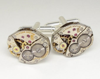 Steampunk Cufflinks Vintage Bulova watch movements gears Grooms Gift wedding anniversary silver cuff links men jewelry Steampunk Nation