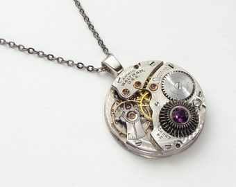 Steampunk Necklace vintage Waltham Sapphire pocket watch movement with gears & purple amethyst crystal silver pendant necklace Jewelry gift