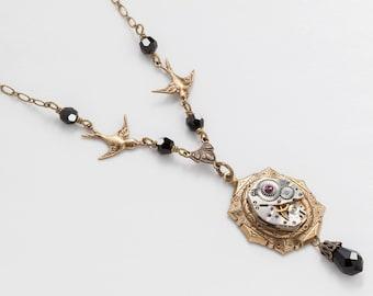 Steampunk Necklace Vintage silver watch movement black crystal gold filigree birds Neo Victorian Statement Necklace jewelry Steampunk Nation
