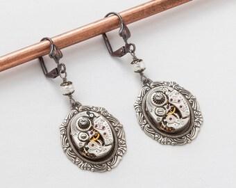 Steampunk Earrings Vintage watch movements gear silver filigree pearl Swarovski crystal dangle drop earrings Wedding Gift Steampunk  jewelry