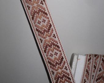 1960s Vintage Embroidered Trim Peachy Brown Cotton Fabric Hippie Boho Trim 2 Yards