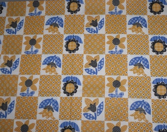 """Vintage Fabric~1960s Calico Flowers~Yellow and Blue Cotton Fabric~35"""" Selvage~3 and 1/2 Yards~Bargain Fabric!"""