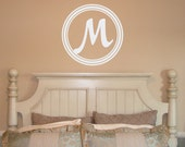 22x22 Initial in Scallop Circle frame wall decal, letter wall decal, bedroom decor, nursery wall decal, vinyl lettering (W00939)
