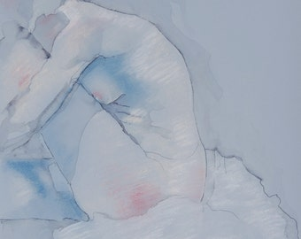 Female Figure Drawing Print in Blue
