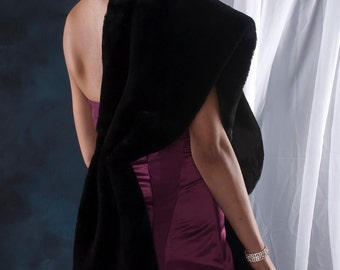 Black Faux Fur Stole shawl wrap Bride's Winter Wedding