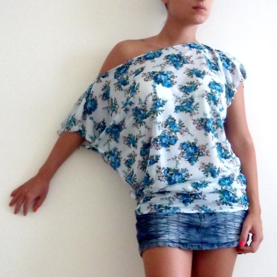 Oversize Summer  Tunic- Slightly Sheer Floral fabric