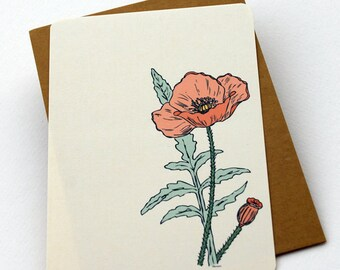 The Poppy Notecards in Cream, Green, and Peach - Set of 6 flat Notecards and Kraft Envelopes