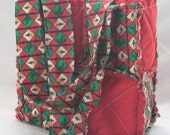 SALE Price as marked*** Rag Patchwork Bag - Red Christmas Tree Squares