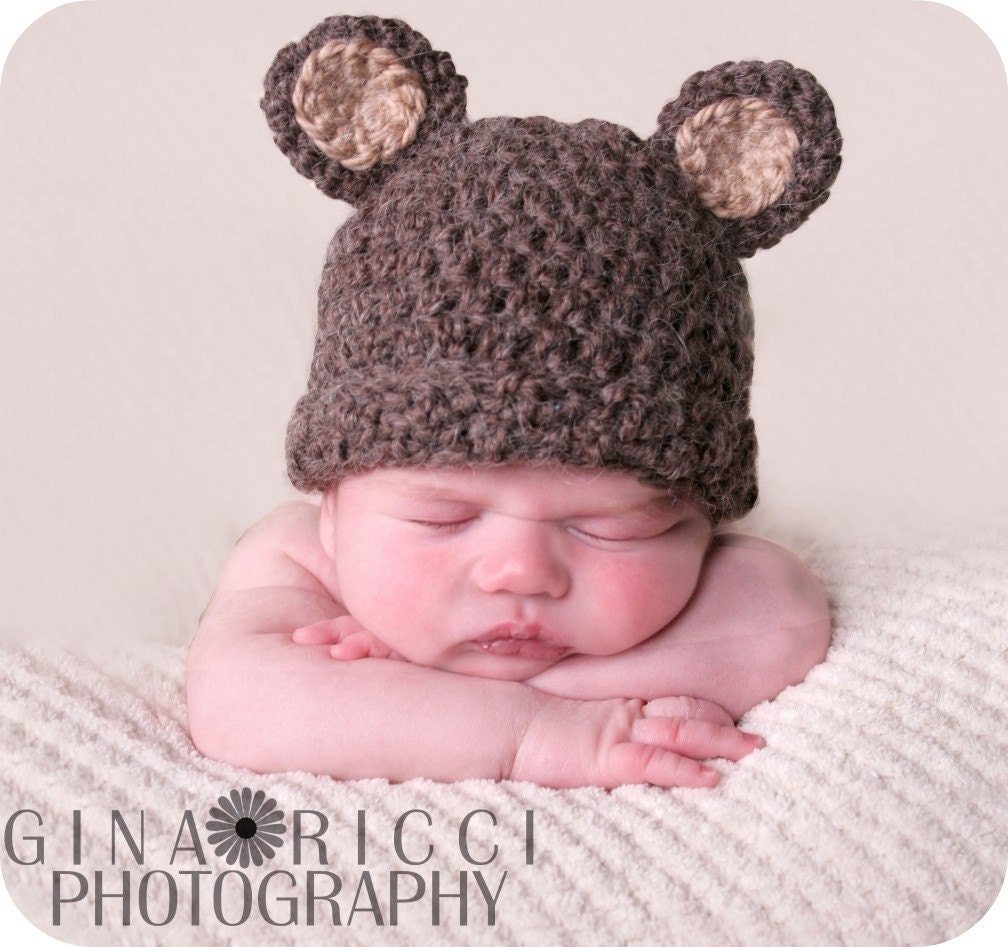 Crochet Beanie Hat Pattern For Babies : Baby Hat CROCHET PATTERN PDF Bear Beanie Teddy Bear Fuzzy