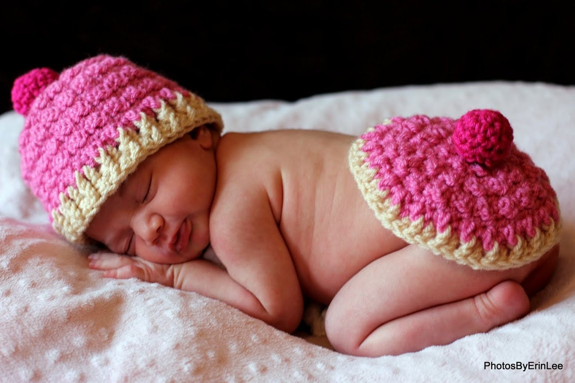 Baby hat crochet pattern pdf cupcake hat and bum cover set zoom bankloansurffo Images