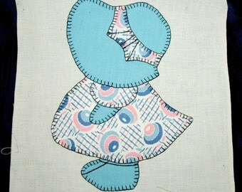 Sale! Sweet SunBonnet Sue Vintage Embroidered Quilt Square