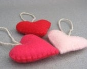 Felt Heart Valentines Ornaments Red and Pink Valentines Colors READY TO SHIP small Recycled Felt Red, Shocking Pink, Baby Pink