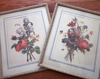 2 vintage Botanical Floral Prints, J.L. Prevost-style. Shabby, chippy frames, matted under glass. Cottage blue and creamy white gallery wall