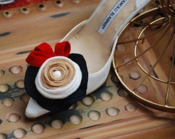 Swirl Rosette Shoe Clips / Hair Pins. CUSTOM made colors & combinations. Summer Independence Day 4th July Party Festivity. Bridal Bridesmaid