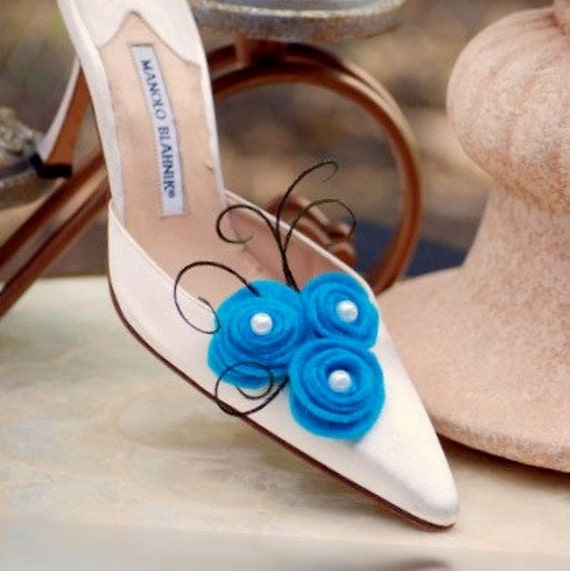 2 Turquoise Blue & White Swirls Trio Shoe Clips / Hair Pins. Bridal Bridesmaid Friend Teen. Boutique Style Couture, Peacock Herl Pearl Clip