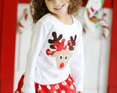 Girls Reindeer Applique Shirt...Ready for Delivery...Available in Size 18m, 2, 4, 6 and 8