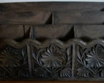 Vintage Lerner Faux Bois Carved Look Mail Sorter